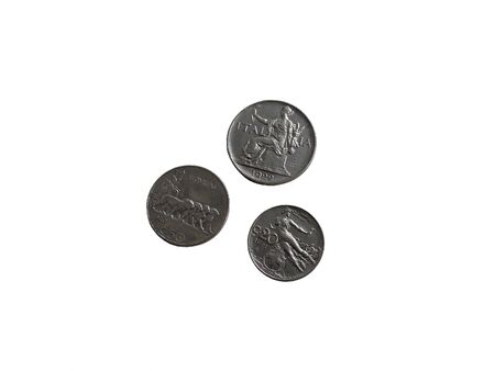 Three Italian Vintage 1920s coins isolated on white background Stok Fotoğraf