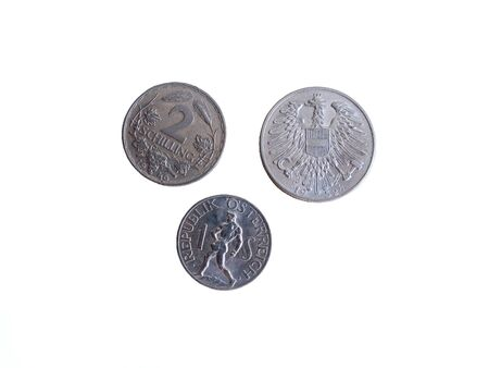 Three Austrian Vintage 1950s coins isolated on white background Stok Fotoğraf