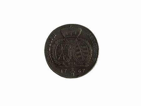 Photo of Saxon coin 23 Thaler 1767 isolated on white background