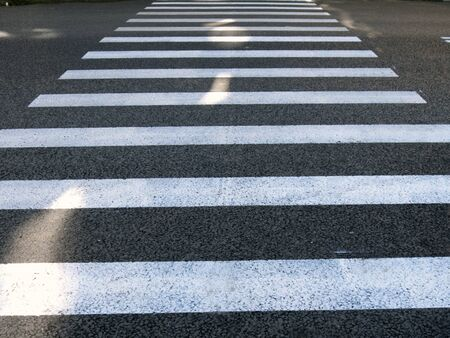 The pedestrian Zebra crossing across the asphalt road