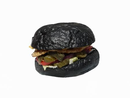 Photo of black hamburger isolated on white background. Stok Fotoğraf