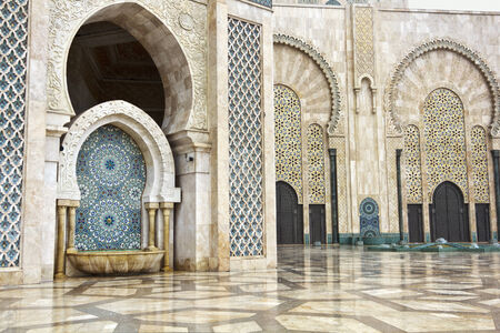 morocco: Fountains in Hassan II mosque, Casablanca, Morocco