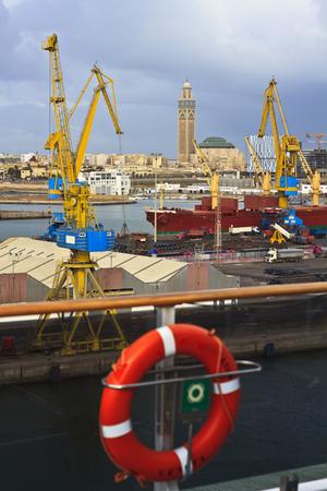 The port of Casablanca view of a ship.Casablanca (Morocco)