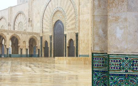 Ornate exterior brass door of Hassan II Mosque in Casablanca, Morocco