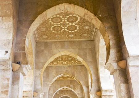 King Hassan II mosque, Casablanca, Morocco. Arab arches Stock Photo