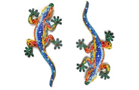 salamandre: Lézards mosaïque isolé sur fond blanc