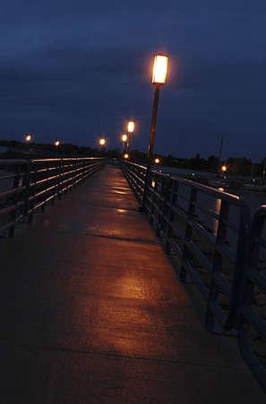 A breakwall at night. photo