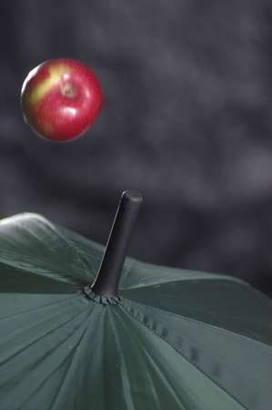 An apple falling on an umbrella.
