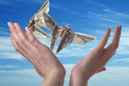 Two hands reaching for dollar bills shaped like butterflies. A blue sky serves as the backdrop.