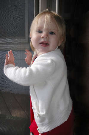 A toddler leans up against a screen door and smiles.