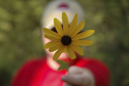 A woman in a red shirt holding out a pretty yellow flower. The flower is in focus, and the woman is out of focus.