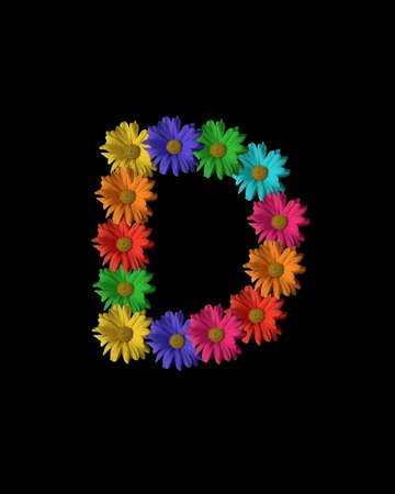 """De letter """"D"""" opgericht met kleurrijke bloemen."""