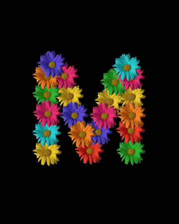 The letter M formed with colorful flowers.