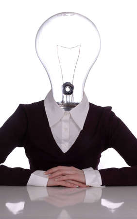 A woman in business attire with a light bulb for a head. White background.