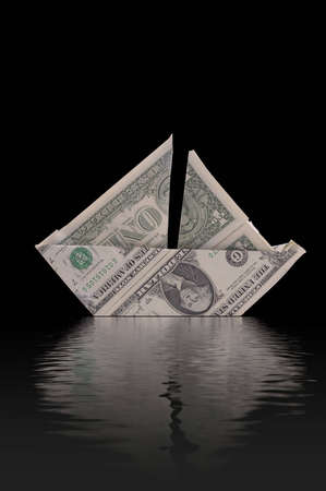 financially: An illustration of staying financially afloat. A sailboat made of dollar bills appears to float on rendered water. Black background.
