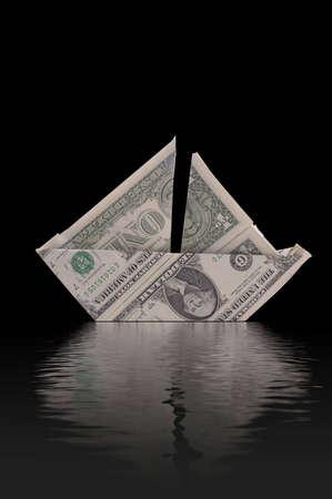 �ber Wasser: Ein Beispiel f�r Aufenthalt finanziell �ber Wasser. Ein Segelboot aus Dollarnoten zu schweben scheint auf Wasser gemacht. Schwarzem Hintergrund.
