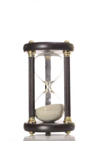 anachronistic: An hourglass against a white background.
