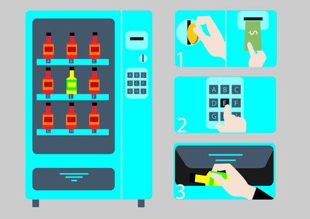 A vector illustration of a vending machine and a step-by-step on how to use it.