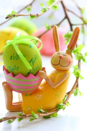 easter rabbit and painted egg  Stock Photo