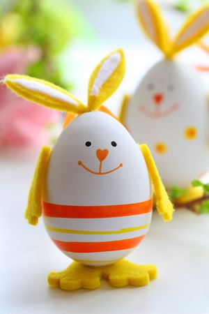 easter decorations: easter rabbits Stock Photo