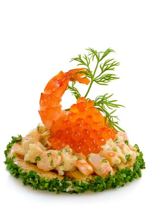 Tasty sandwish with shrimp salad and red caviar  photo