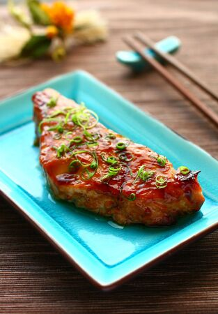 Baked salmon with teriyaki sauce photo