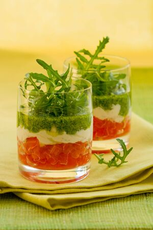 appetizer with tomato,cheese and pesto  photo