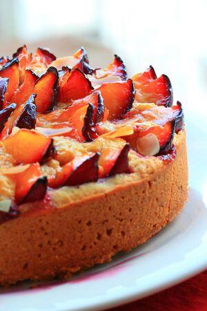sweet plum tart with almonds photo