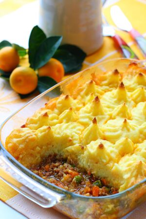 Cottage pie (potato and meat gratin)  in baking dish  photo