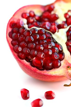 ripe, and fresh half of pomegranate photo