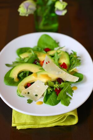 avocado salad with dried cranberries,parmesan, honey and mustard dressing  photo