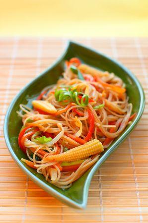 baby corn: Stir fried noodles with vegetables.