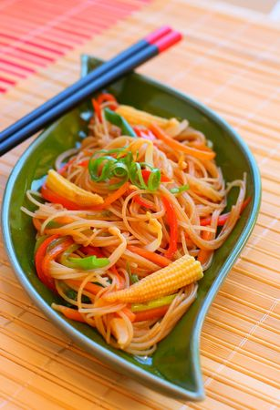 Stir fried noodles with vegetables. photo
