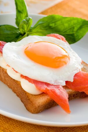 Fried eggs with salmon on toast Stock Photo - 6485644