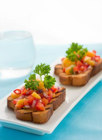 brushetta with mango salsa Stock Photo - 6531523