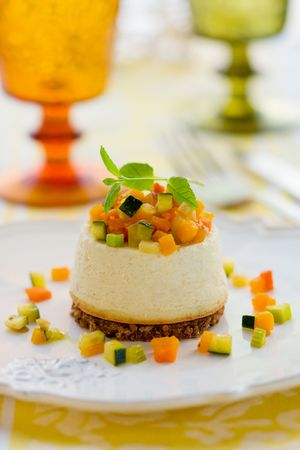 roquefort: Roquefort cheesecake with vegetables Stock Photo
