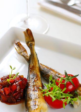 chutney: baked fish with tomato chutney  Stock Photo