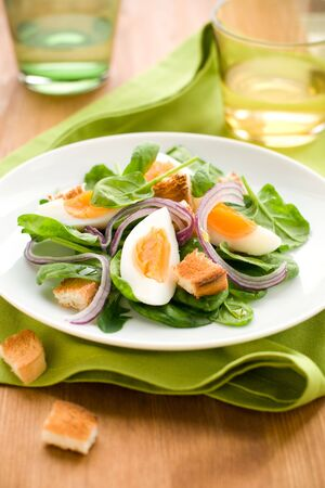 salad with spinach,eggs and croutons photo