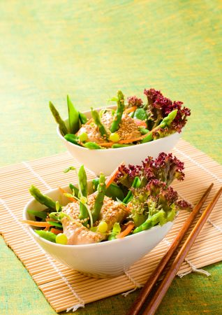 vegetable salad with sesame tofu dressing photo