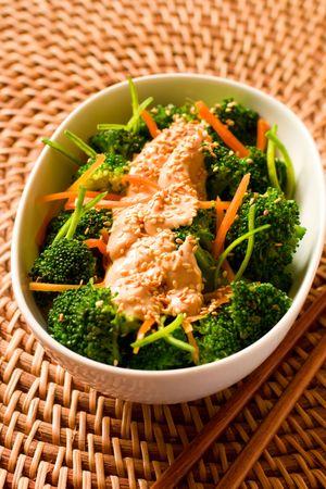 tofu: broccoli with sesame tofu dressing