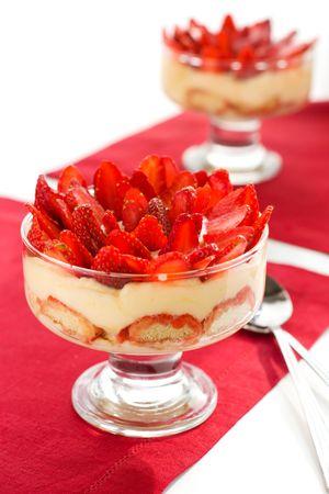 strawberry tiramisu dessert in a glass photo