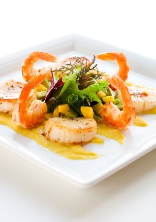 grilled shrimp and scallop salad with mango sauce photo
