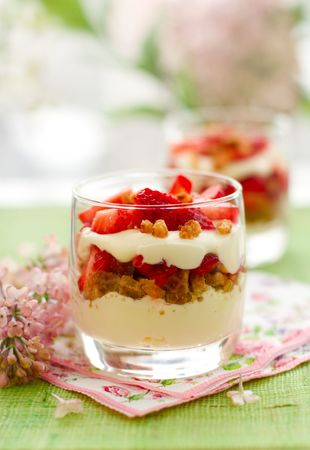 trifle: Strawberry and mascarpone trifle in  glasses