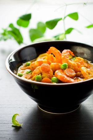 masala with green pea,carrot,shrimps and nut photo