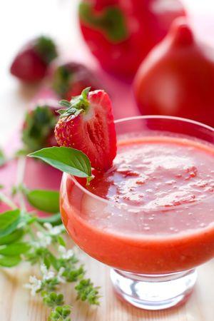 gazpacho: cold tomato-strawberry soup gazpacho