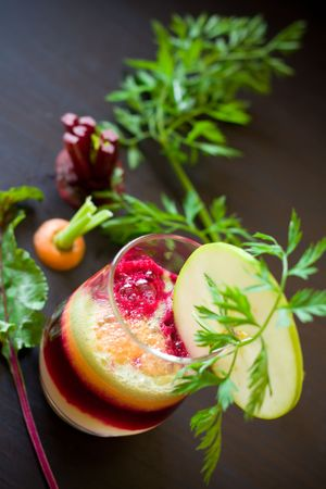 Fresh apple,carrot and beetroot juice photo