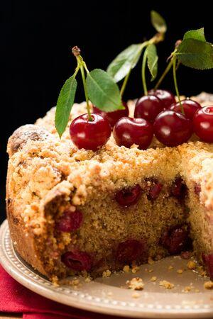 homemade cherry crumble cake  photo