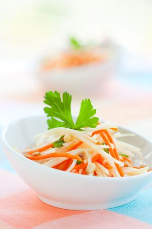 carotene: kohlrabi and carrot salad with pine nut,parsley and green onion