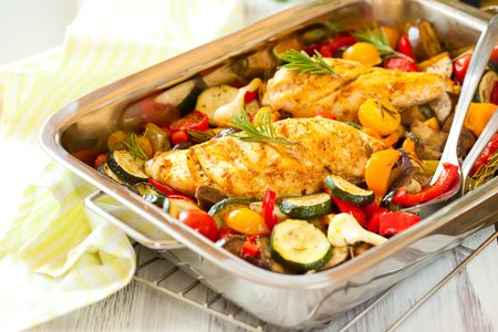 rosemary chicken with oven-roasted ratatouille Stock Photo - 7168867