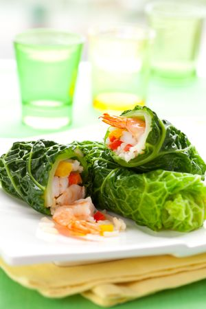 savoy: savoy cabbage leaves stuffed with prawns,rice and vegetables